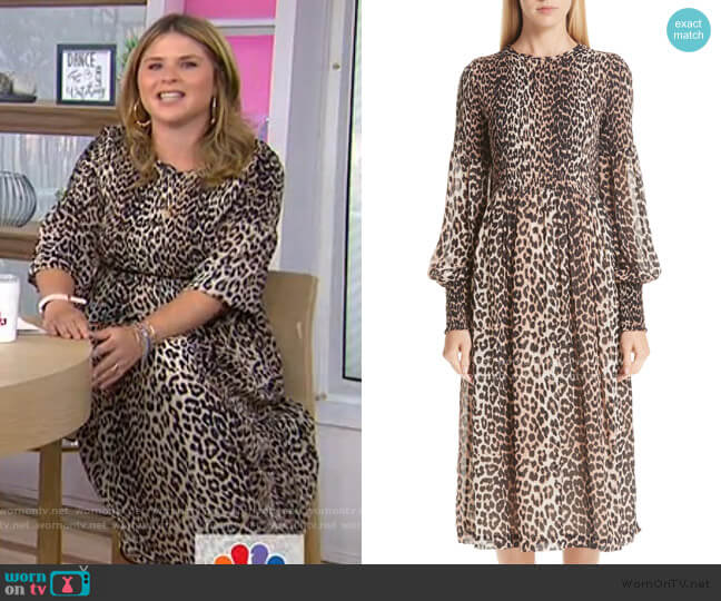 Leopard Print Georgette Midi Dress by Ganni worn by Jenna Bush Hager  on Today