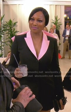 Garcelle's black and pink bow detail blazer dress on The Real Housewives of Beverly Hills