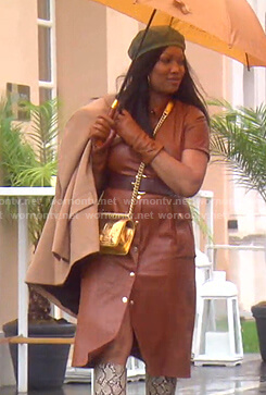 Garcelle's brown leather shirtdress on The Real Housewives of Beverly Hills