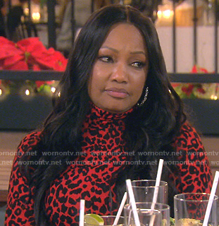 Garcelle's red leopard print dress on The Real Housewives of Beverly Hills
