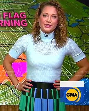 Ginger's blue crochet knit top and geometric print skirt on Good Morning America