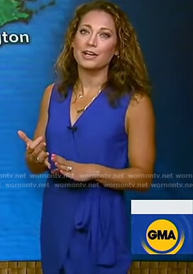 Ginger's blue sleeveless wrap dress on Good Morning America