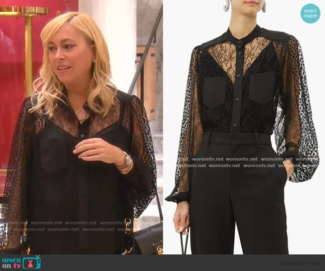 Floral-embroidered lace blouse by Givenchy worn by Sutton Stracke  on The Real Housewives of Beverly Hills