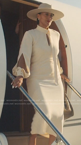Grace's ivory long sleeved keyhole dress on The High Note
