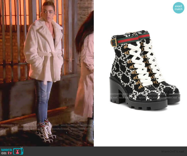 GG Tweed Ankle Boots by Gucci  worn by Denise Richards  on The Real Housewives of Beverly Hills