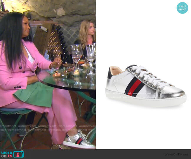 New Ace Metallic Low Top Sneaker by Gucci worn by Garcelle Beauvais  on The Real Housewives of Beverly Hills