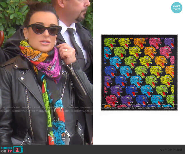 Rainbow Panther Print Modal & Silk Shawl by Gucci worn by Kyle Richards  on The Real Housewives of Beverly Hills