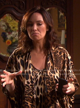 Gwen's leopard print slip dress and robe on Days of our Lives