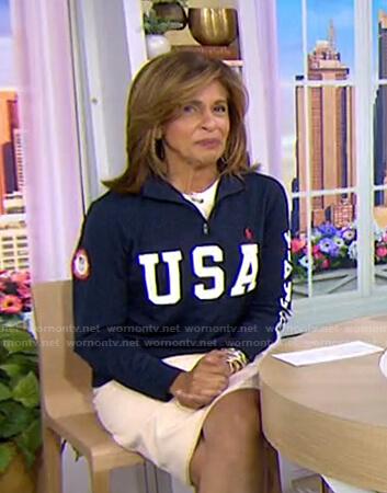 Hoda's navy USA sweatshirt on Today