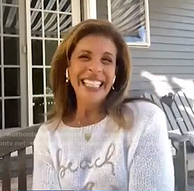 Hoda's white Beach knit sweater on E! News Daily Pop