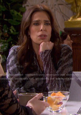 Hope's grey zebra print blouse on Days of our Lives