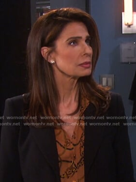 Hope's orange chain print blouse on Days of our Lives