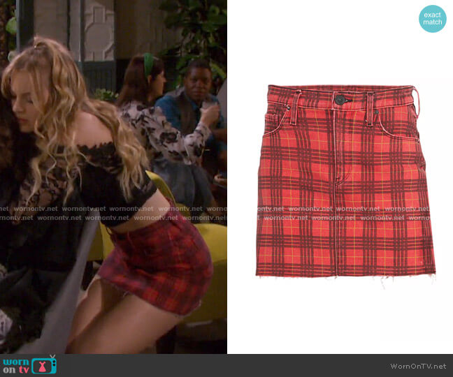 Viper Plaid Mini Skirt by Hudson Jeans worn by Claire Brady (Olivia Keegan) on Days of our Lives