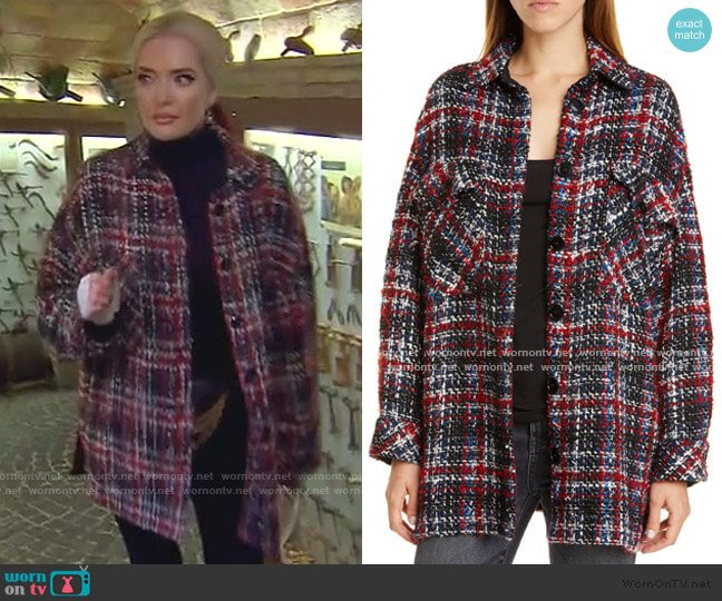 Elmer Plaid Shirt Jacket by Iro worn by Erika Girardi  on The Real Housewives of Beverly Hills
