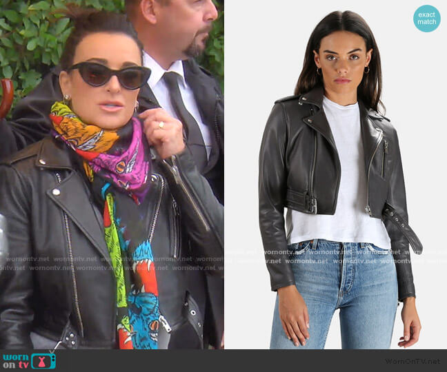 Leufy Leather Jacket by Iro worn by Kyle Richards  on The Real Housewives of Beverly Hills