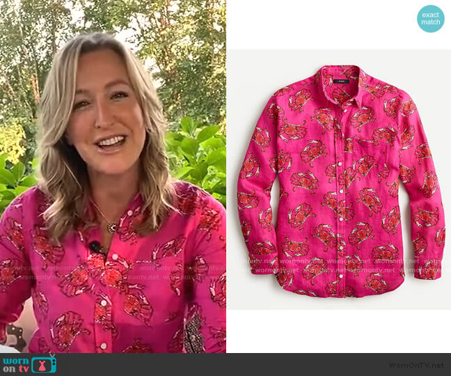 Classic-Fit Boy Shirt in Ratti King Crab Print by J. Crew worn by Lara Spencer  on Good Morning America