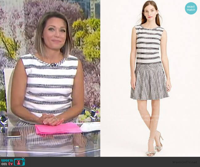 Tweed-Striped Drop-Waist Dress by J. Crew worn by Dylan Dreyer  on Today