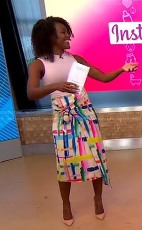 Janai's abstract print asymmetric skirt on Good Morning America