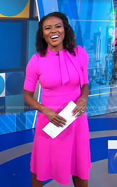 Janai's pink tie neck dress on Good Morning America