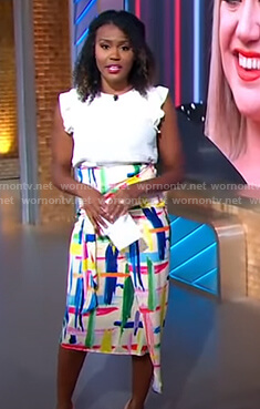 Janai's abstract print asymmetric skirt on Good Morning America