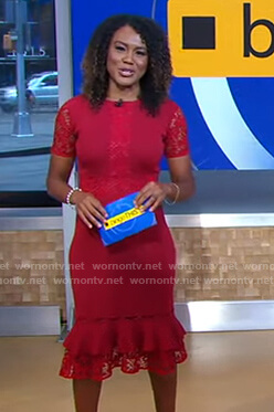 Janai's red lace ruffle hem dress on Good Morning America