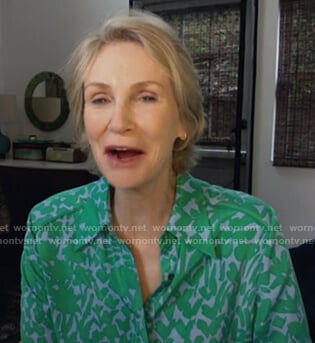 Jane Lynch's green floral blouse on Today