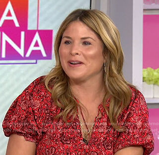Jenna's red floral tie neck blouse on Today