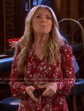Jennifer's red floral wrap dress on Days of our Lives