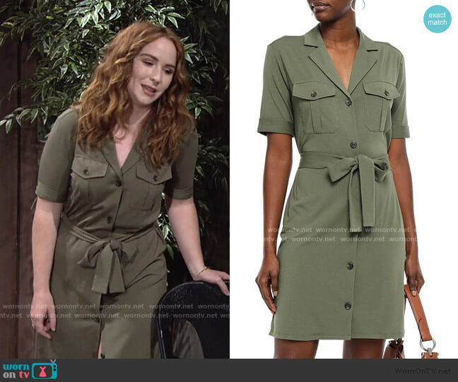 Jadallah Belted Utility Shirtdress by Joie worn by Mariah Copeland (Camryn Grimes) on The Young & the Restless