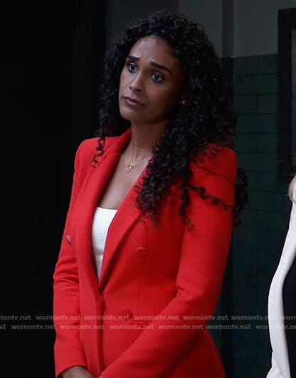 Jordan's red blazer dress on General Hospital