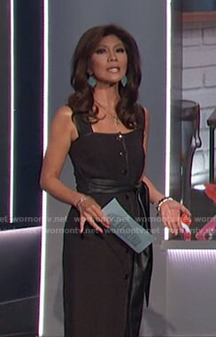 Julie's black tie waist midi dress on Big Brother