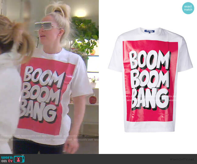Boom Boom Bang T-Shirt by Junya Watanabe worn by Erika Girardi  on The Real Housewives of Beverly Hills