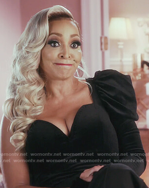 Karen's black velvet one shoulder bodysuit on The Real Housewives of Potomac