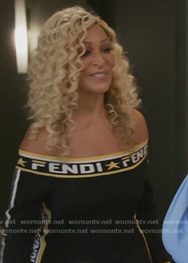 Karen's black off shoulder fendi dress on The Real Housewives of Potomac