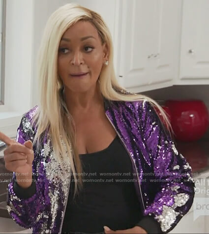 Karen's purple sequin bomber jacket on The Real Housewives of Potomac