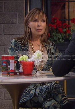 Kate's bird print suit on Days of our Lives