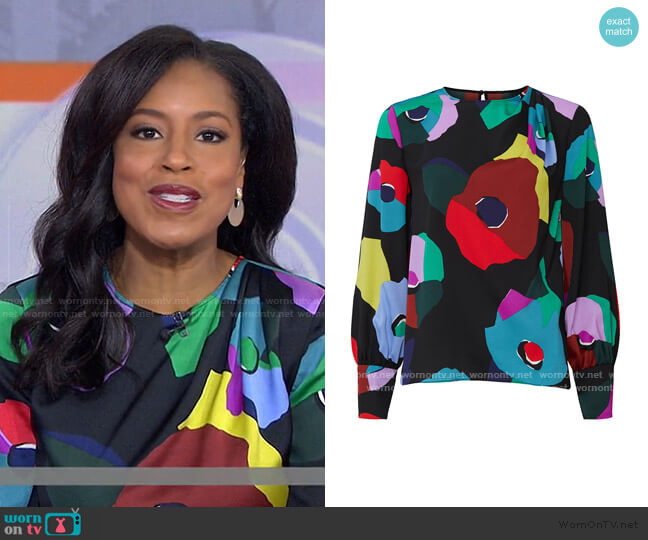 Floral Collage Blouse by Kate Spade worn by Sheinelle Jones  on Today