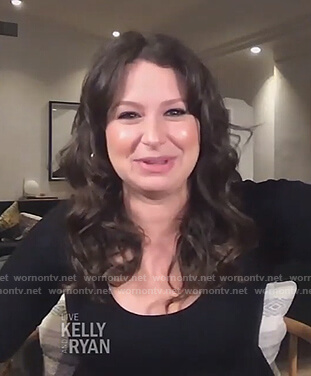 Katie Lowes's black scoop neck maternity dress on Live with Kelly and Ryan