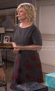 Kayla's grey floral embroidered dress on Days of our Lives