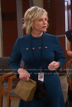 Kayla's teal cutout detail dress on Days of our Lives