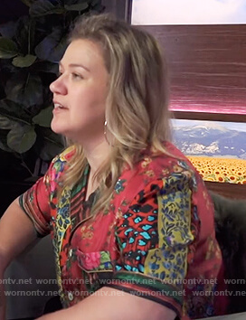 Kelly's red mixed print shirt on The Kelly Clarkson Show