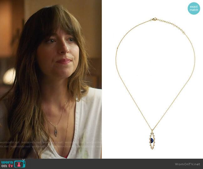 Keren Wolf Good Eye Pendant Necklace worn by Maggie Sherwoode (Dakota Johnson) on The High Note