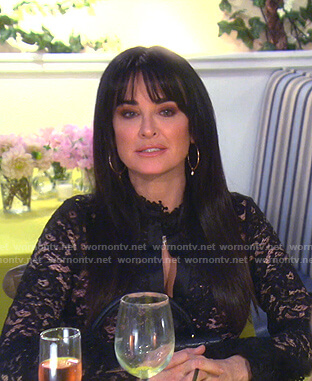 Kyle's black lace blouse on The Real Housewives of Beverly Hills