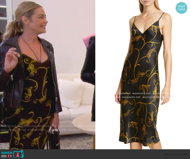 Jodie Leopard Print Silk Slipdress by L'Agence worn by Denise Richards  on The Real Housewives of Beverly Hills