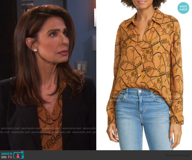 Nina Chain Print Silk Blouse by L'Agence worn by Hope Williams (Kristian Alfonso) on Days of our Lives