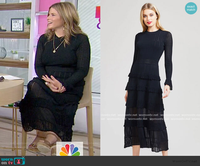Ruffle Detail Knit Midi Dress by Lela Rose worn by Jenna Bush Hager  on Today