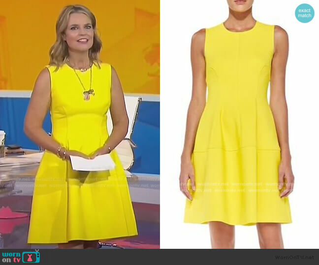 Sleeveless Seamed A-Line Dress by Lela Rose worn by Savannah Guthrie  on Today