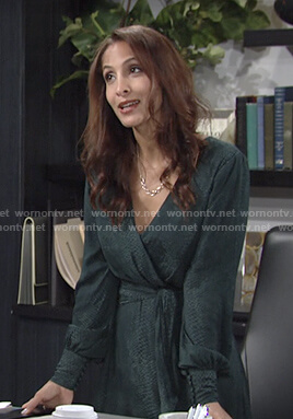 Lily's green snake print wrap dress on The Young and the Restless