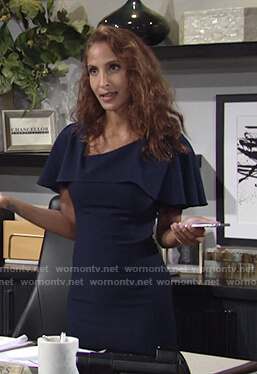 Lily's navy ruffle asymmetric neck dress on The Young and the Restless