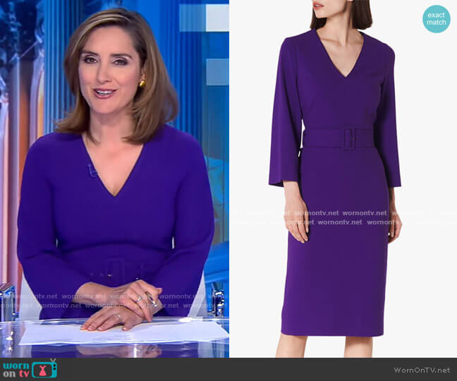 Esther V-Neck Belted Dress by LK Bennett worn by Margaret Brennan on CBS Evening News